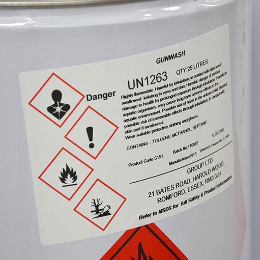 étiquette industrielle chimie